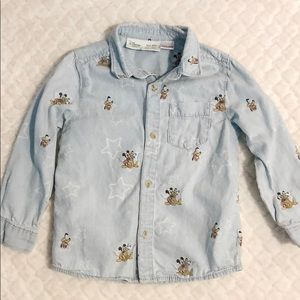 Zara DISNEY Toddler Boys Denim Shirt
